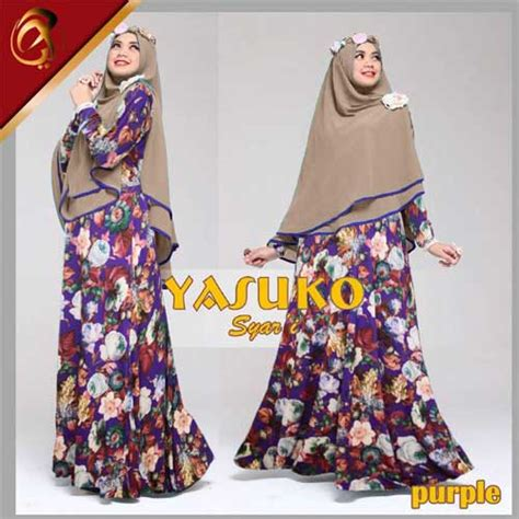 Jilbab Pricilla Sifon Non Pad gamis syari yasuko a045 xl baju muslim jilbab sifon
