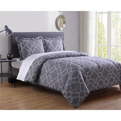 essential home mini comforter set grey geo home bed
