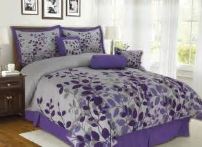 Details about 7pcs queen fresca purple and gray bedding comforter set
