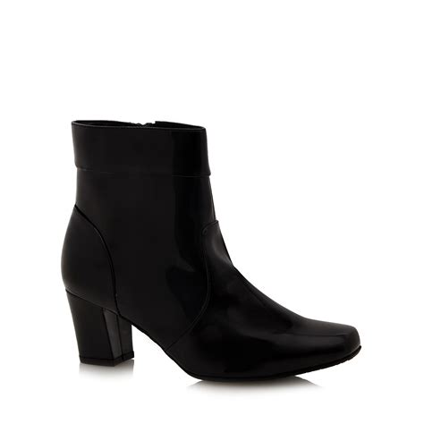 for the sole womens black patent wide fit ankle boots