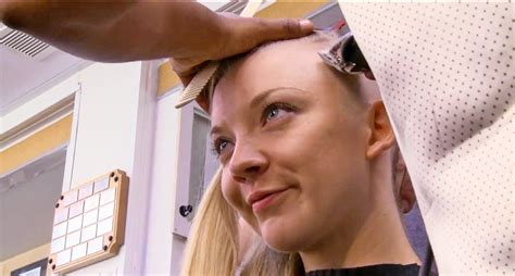 shave in a parting watch natalie dormer s head get shaved for mockingjay