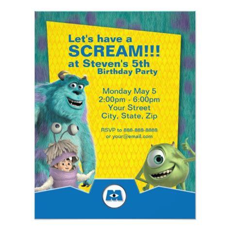Monsters Inc Birthday Invitation Zazzle Com Monsters Inc Birthday Invitations Template
