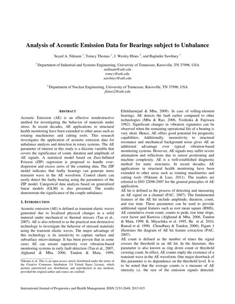 (PDF) Analysis of acoustic emission data for bearings