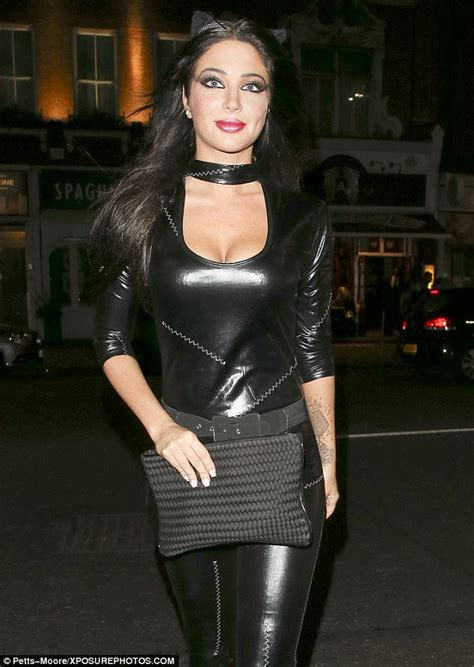 Cat Time Black Leather tulisa contostavlos displays in leather catsuit for