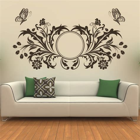 butterfly design floral circle wall sticker transfers ebay