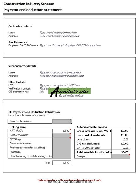 Cis Single Payment Deduction Statement Template Accountant S E Shop Subcontractor Payment Certificate Template Excel