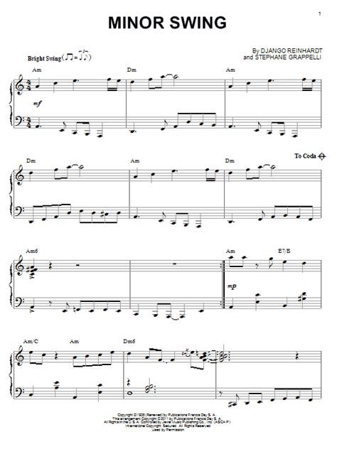 swing piano minor swing sheet music direct