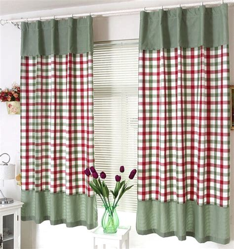 plaid country curtains plaid country style lace mini window curtains for living room