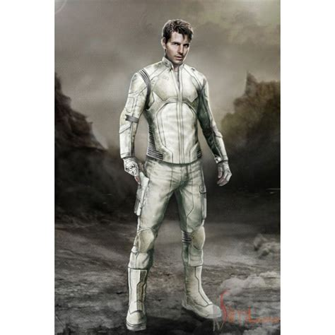 Tom Cruise Oblivion Motorcycle leather White Pant and Jacket