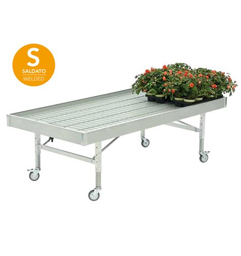 bench on wheels welded aluminum bench on wheels 1225 x 2530 mm ebb and flow system benches and