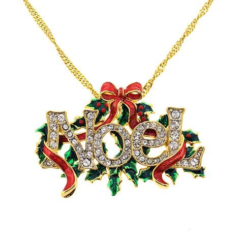 christmas noel christmas bow wreath swarovski crystal pin