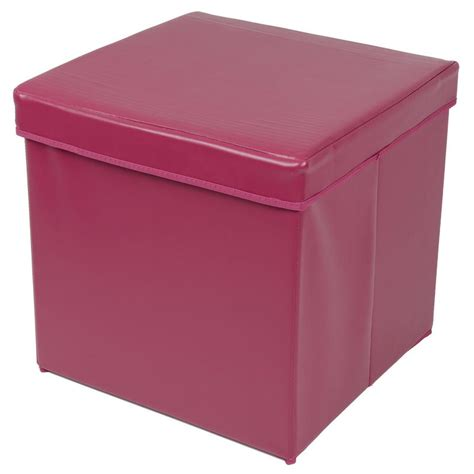 padded ottoman with storage plum faux leather folding ottoman storage cube with padded lid