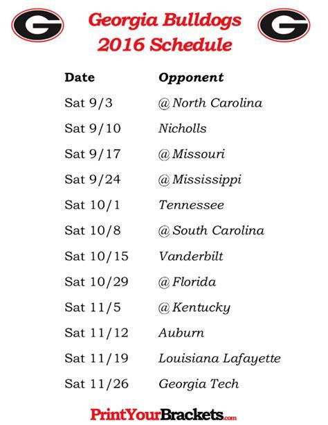 printable uga schedule printable georgia bulldogs football schedule 2016