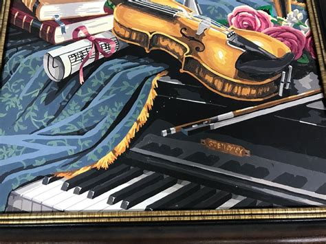 candelabra piano vintage paint by number violin piano and candelabra