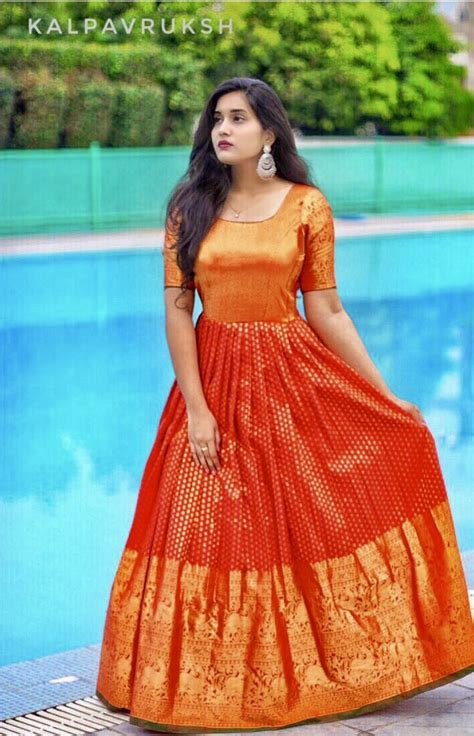 chagne silk gowns one saree of we use to make this dress