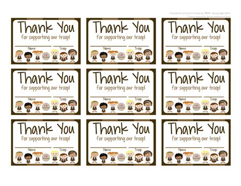 cub scout thank you card template my fashionable designs scouts brownies free