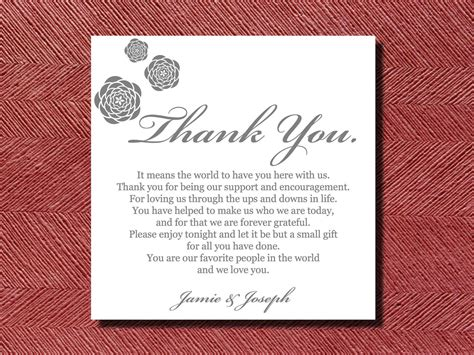 thank you letter after wedding reception wedding reception thank you place setting card