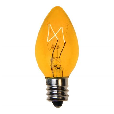 transparent yellow c7 incandescent christmas light bulbs