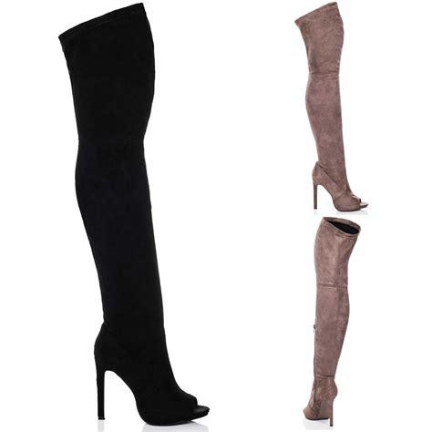 the knee peep toe boots womens open peep toe high heel stiletto knee