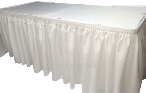 14 White Polyester Pleated Table Skirt Skirting Wedding Table Skirt
