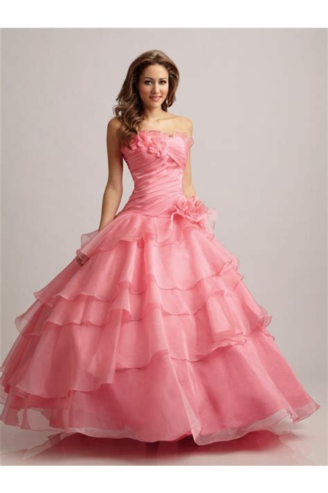 Cute Ball Gown Strapless Watermelon Organza Ruffle Floral