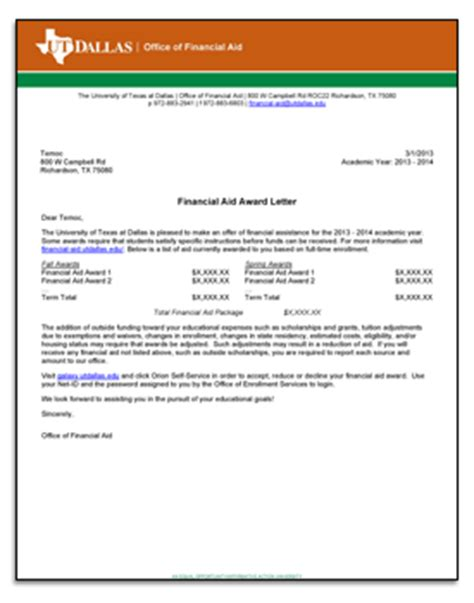 Finance Letter Of Offer Communications Financial Aid The Of At Dallas