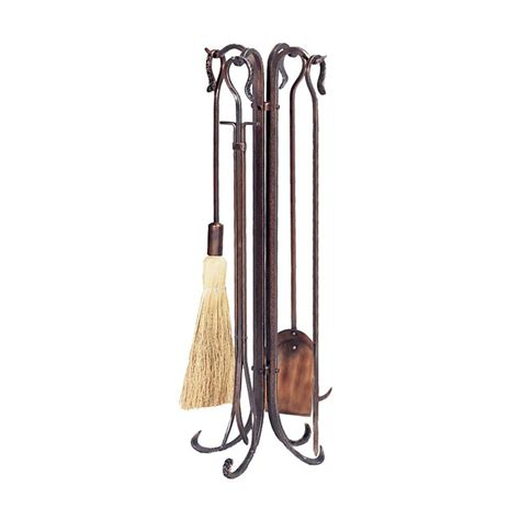 uniflame antique copper 5 fireplace tool set with