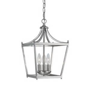 lantern pendant light fixture stanton brushed nickel three light foyer pendant capital