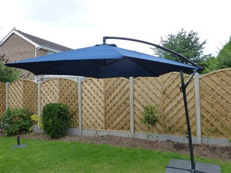 patio parasols uk uk gardens 3m navy blue cantilever hanging garden parasol