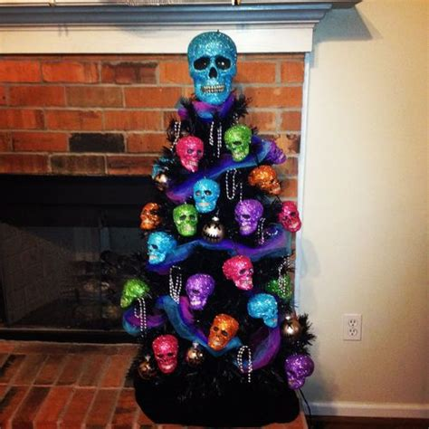 mini glittered skull tree day of the dead pinterest