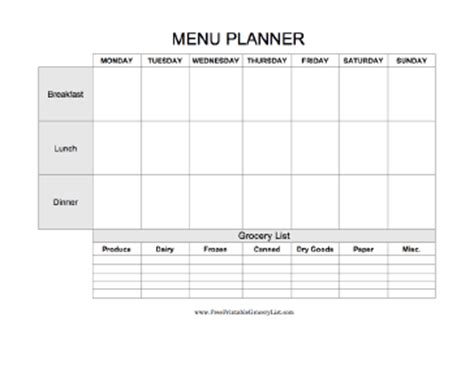 blank meal plan and grocery list plan an entire week of meals breakfast lunch and dinner