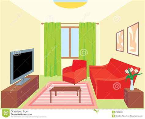 Living room. Interiors stock vector. Illustration of table
