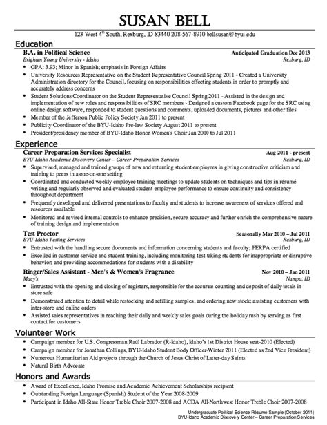 Resume Exles Political Science Political Science Resume Sle Http Resumesdesign Political Science Resume Sle