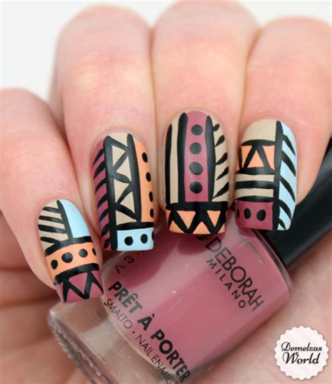 tutorial nail art aztec video tutorial aztec tribal nails for deborah milano