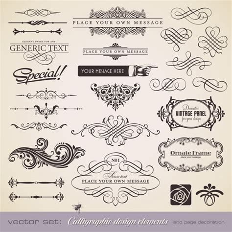 calligraphic design elements vector free ornate design elements vector vector graphics blog