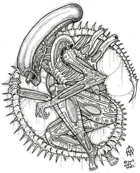 Xenomorph Coloring Page free coloring pages of how to draw avp