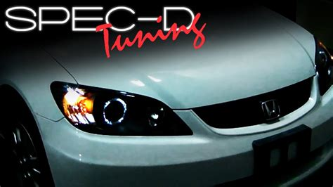 Headl Civic White Projector 2004 2005 1 specdtuning installation 2004 2005 honda civic lights projector lights