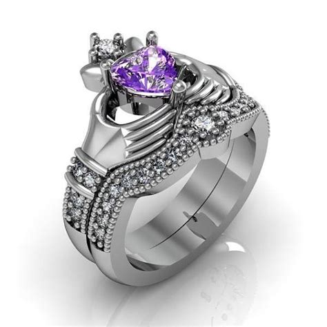 claddagh ring set claddagh ring sterling silver amethyst and