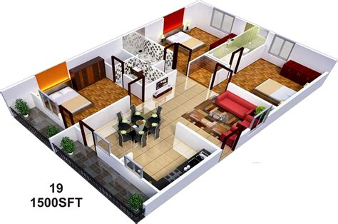 3 Bedroom Apartment Floor Plans by 1500 Sq Ft 3 Bhk 3t Apartment For Sale In Sai Sumukha