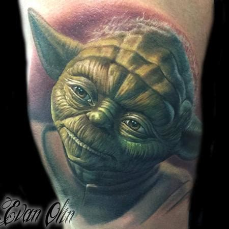 powerline tattoo ri color realistic yoda from wars by evan