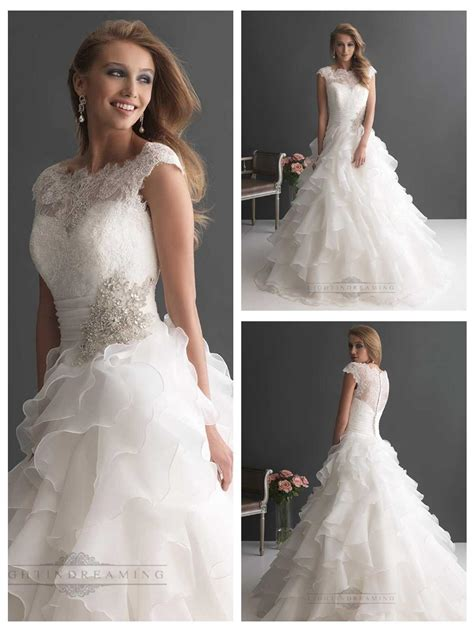 Wedding Ruffled by Cap Sleeves Ruffled Layered Gown Wedding Dresses With