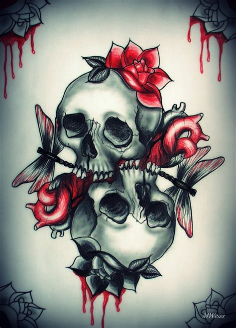 design art love love you to death tattoo flash skulls by mweiss art on