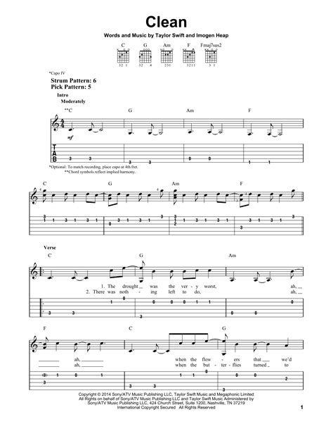 clean taylor swift lyrics chords clean by taylor swift easy guitar tab guitar instructor