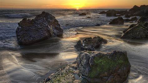 full hd wallpaper rock tide beach sunset desktop
