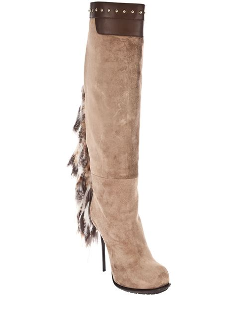 boots with tassels gianmarco lorenzi boot with fur tassel in lyst