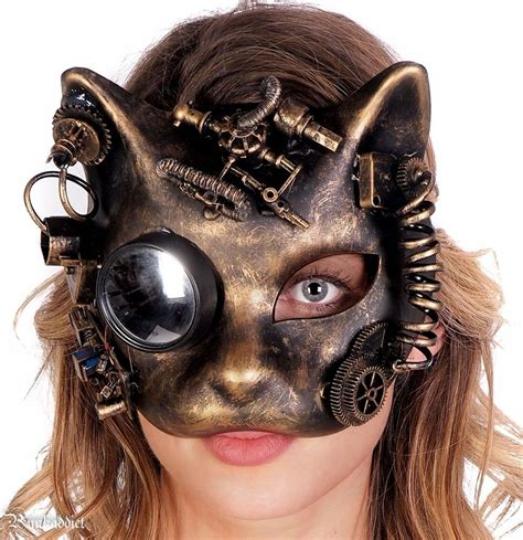 steampunk cat mask masquerade halloween costume eye face