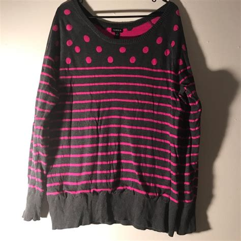 Sweater Malilkids Grey Dot Pink torrid sweaters gray pink polka dot striped sweater
