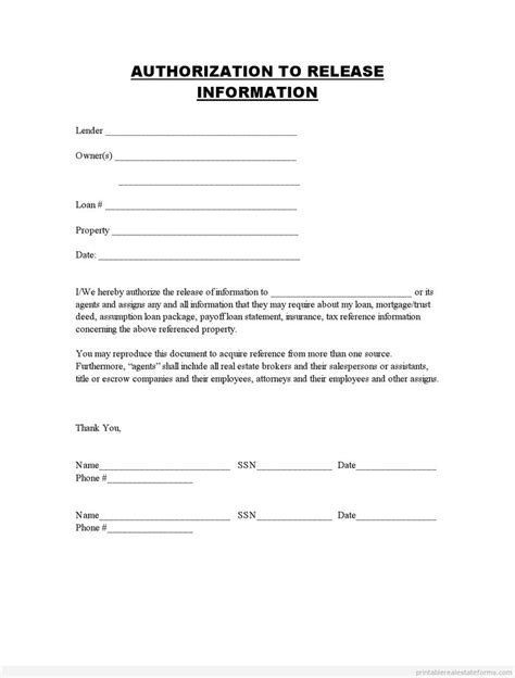 free release form template printable authorization to release information template