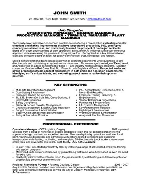 operations manager resume template premium resume sles exle