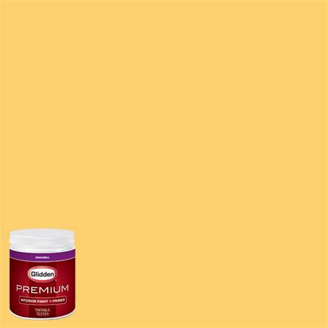 glidden premium 8 oz hdgy28 may tulip yellow eggshell interior paint with primer tester